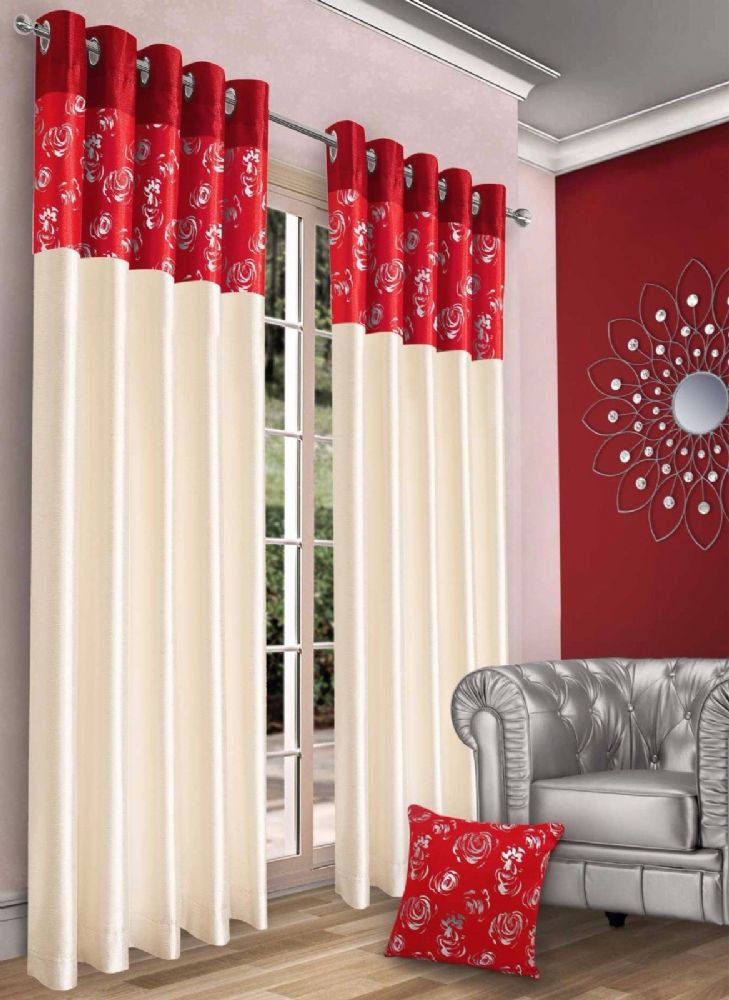STYLISH CONTEMPORARY FAUX SILK RINGTOP EYELET FULLY LINED METALLIC FLORAL CURTAINS RED CREAM COLOUR